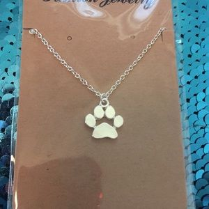 Cute Puppy Paw Necklace Silver Dog Lover Gift